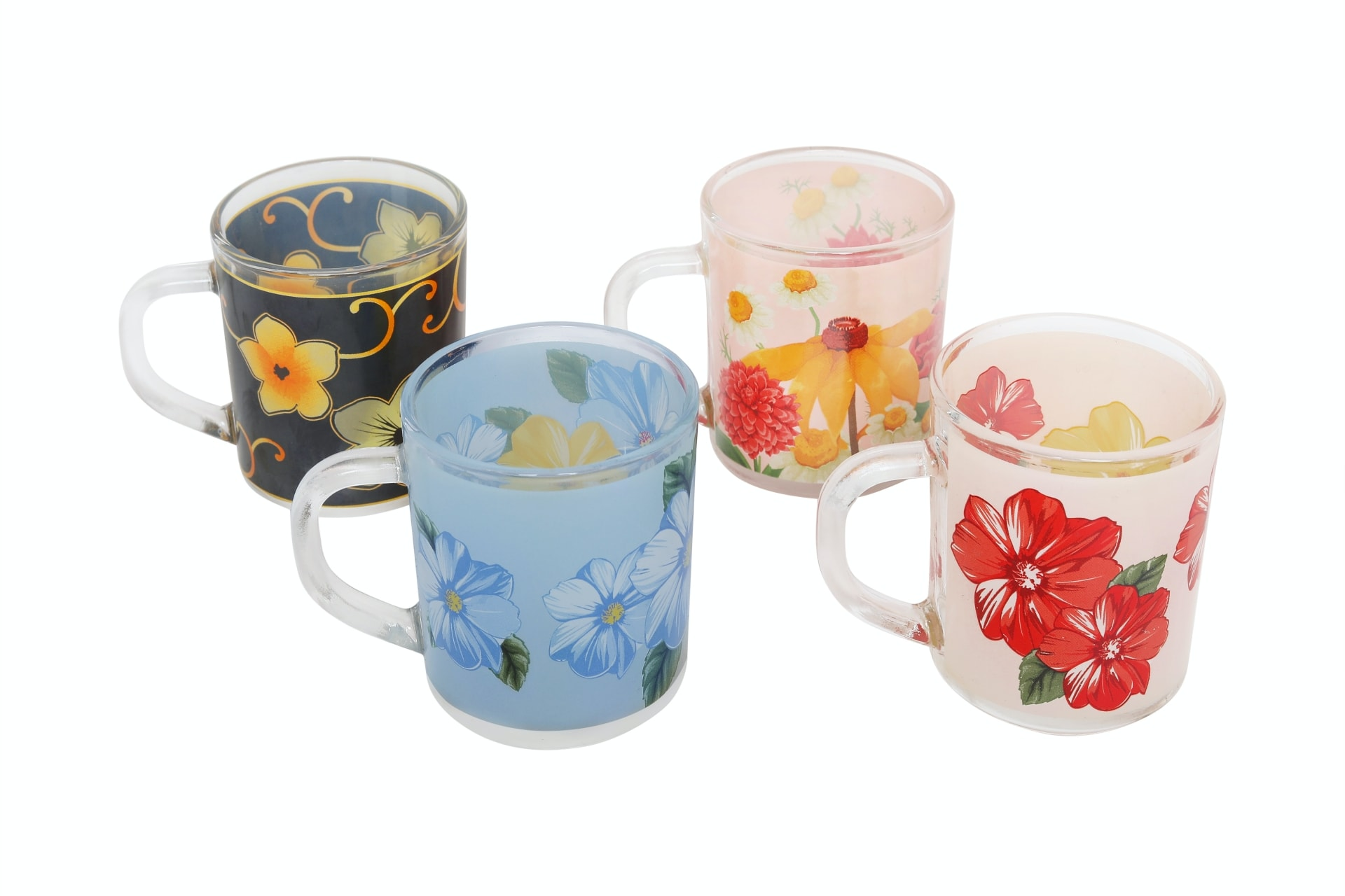 Viola Decal Flower Printed Glass Mug