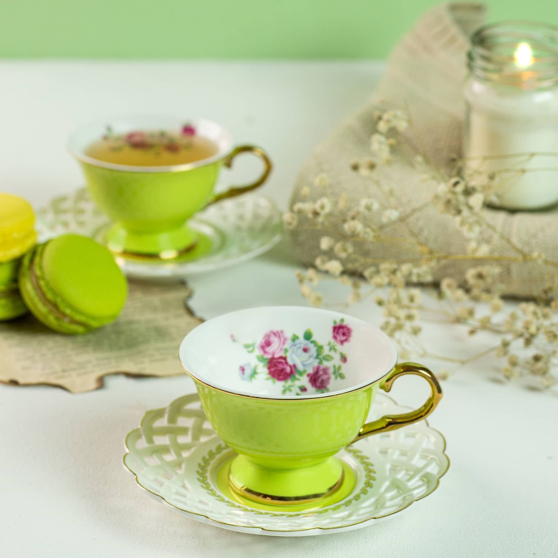 Viola Verdant Cup and Saucer Set of Two