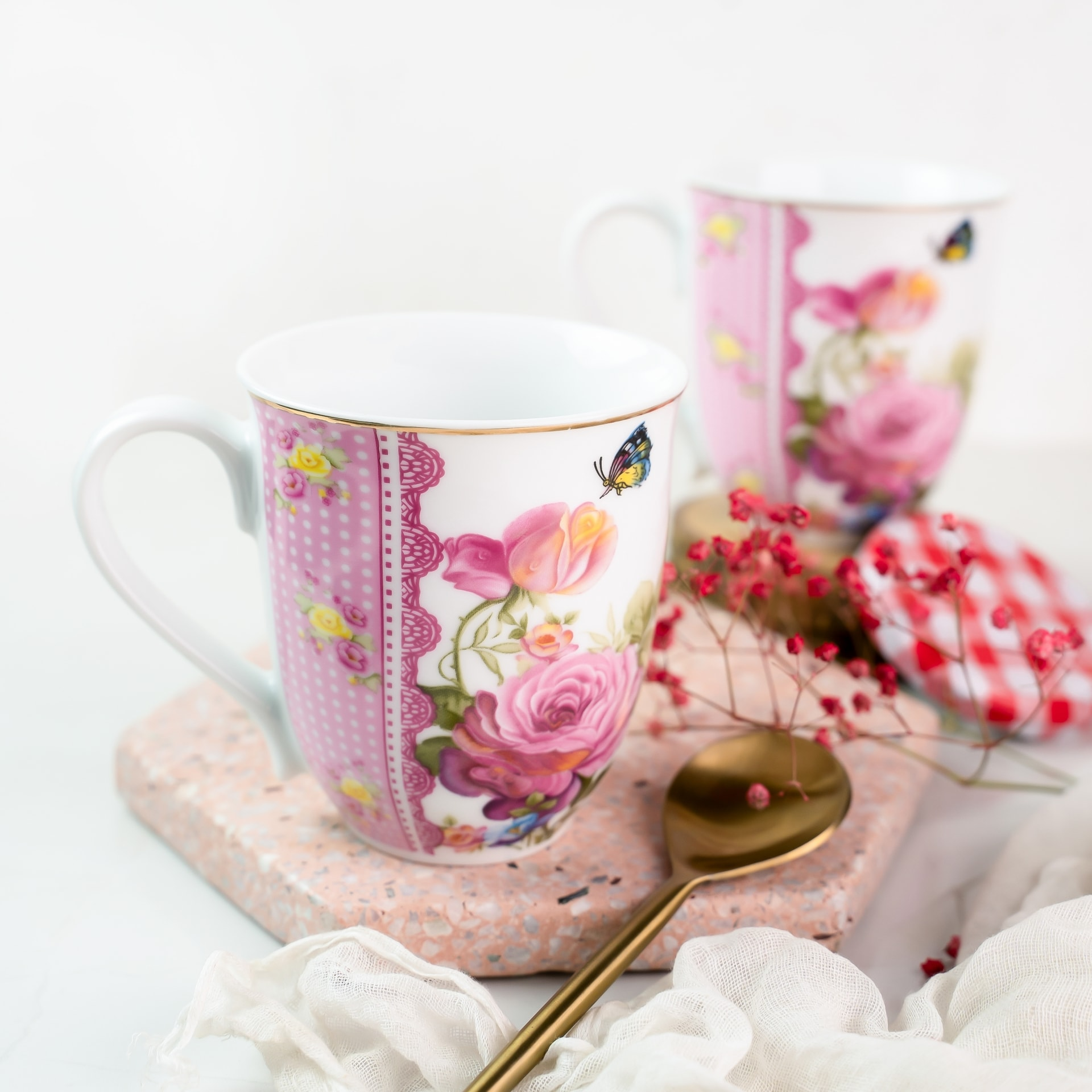 Viola Paeonia Blossom Porcelain Coffee Mug