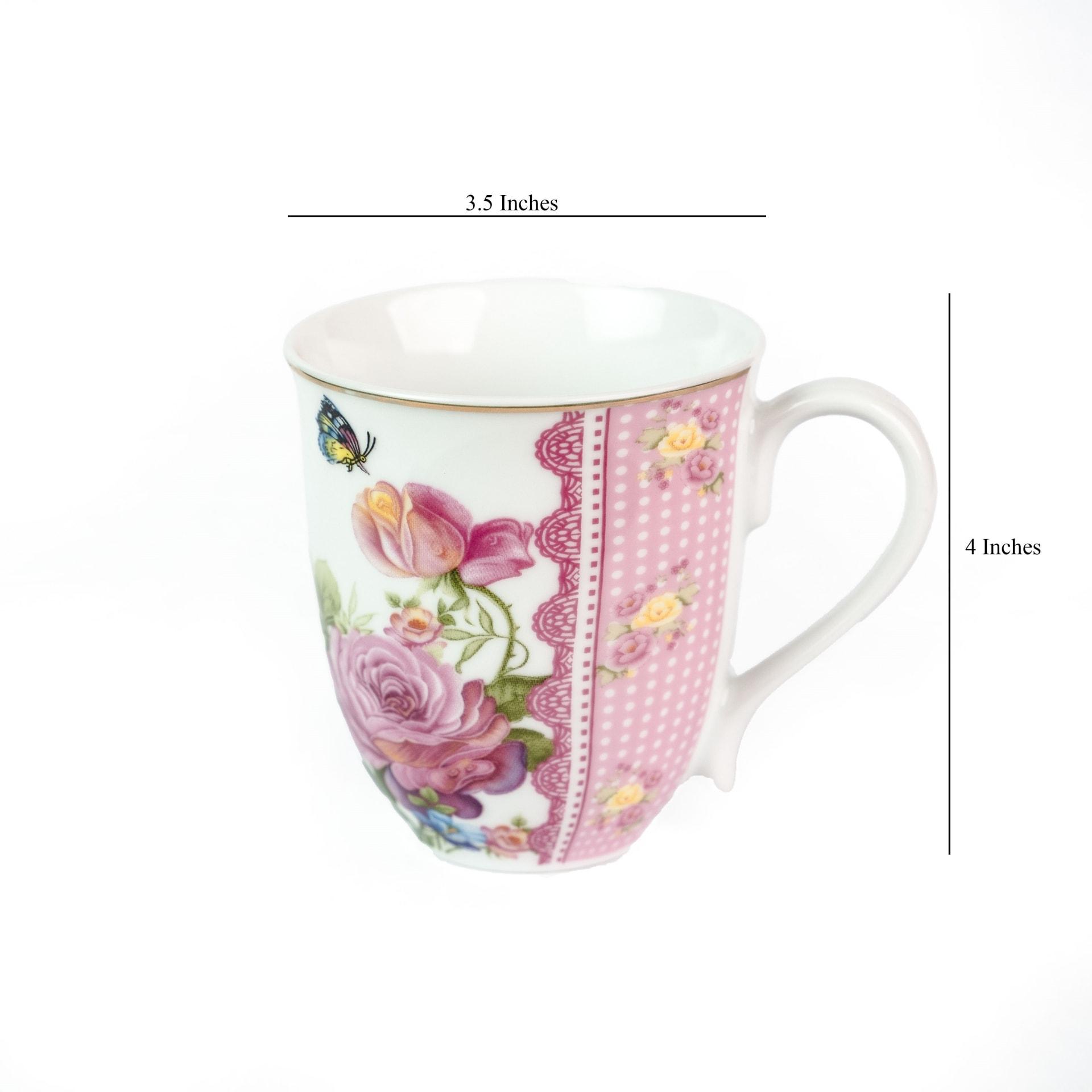 Viola Paeonia Blossom Porcelain Coffee Mug Dimensions