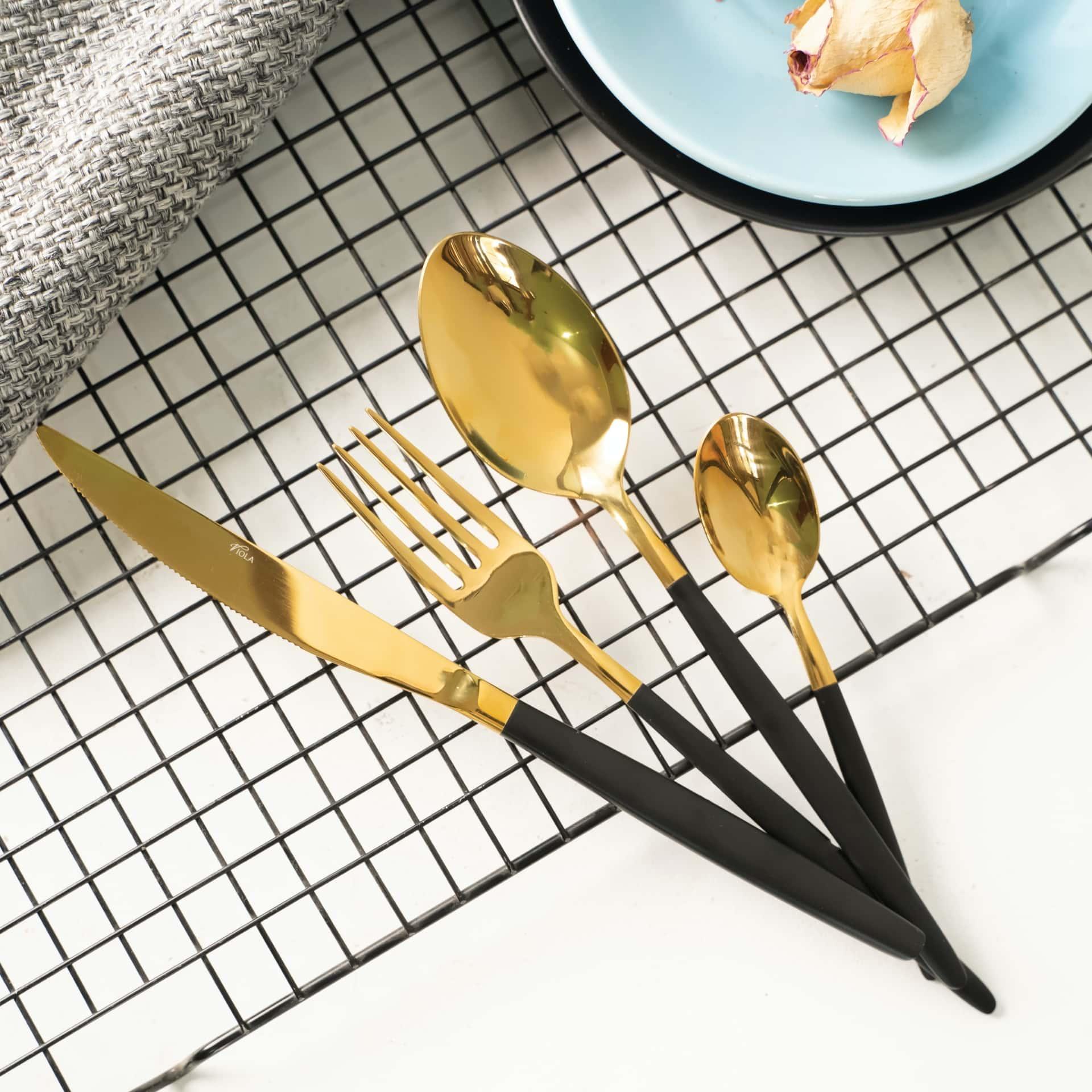 Viola Black & Gold Coalescence Cutlery Set