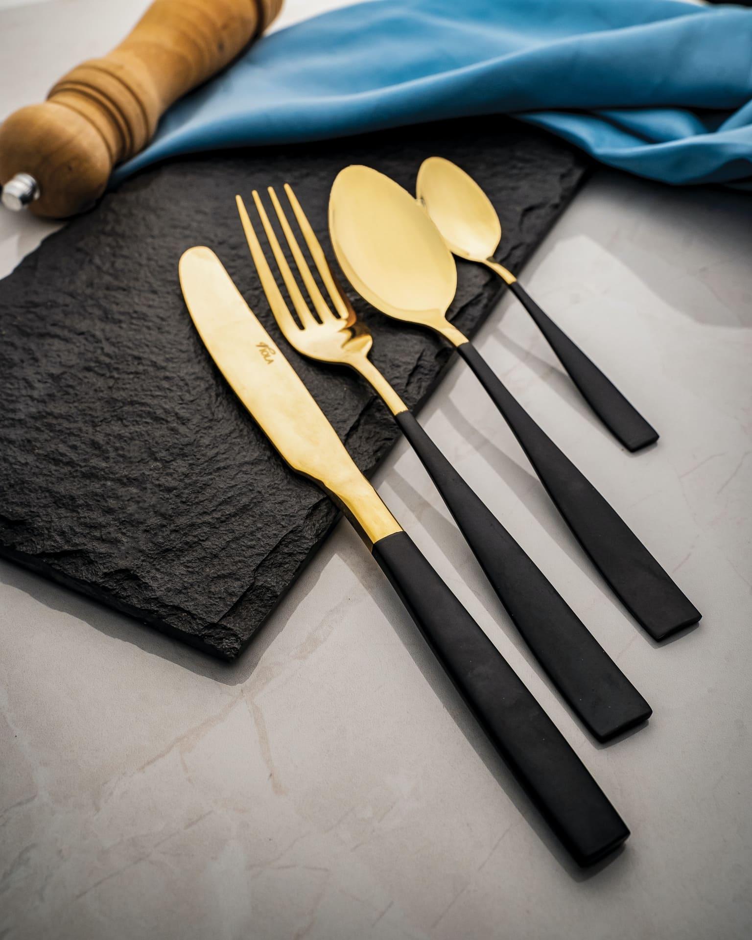Viola Black & Gold Opulent Cutlery Set