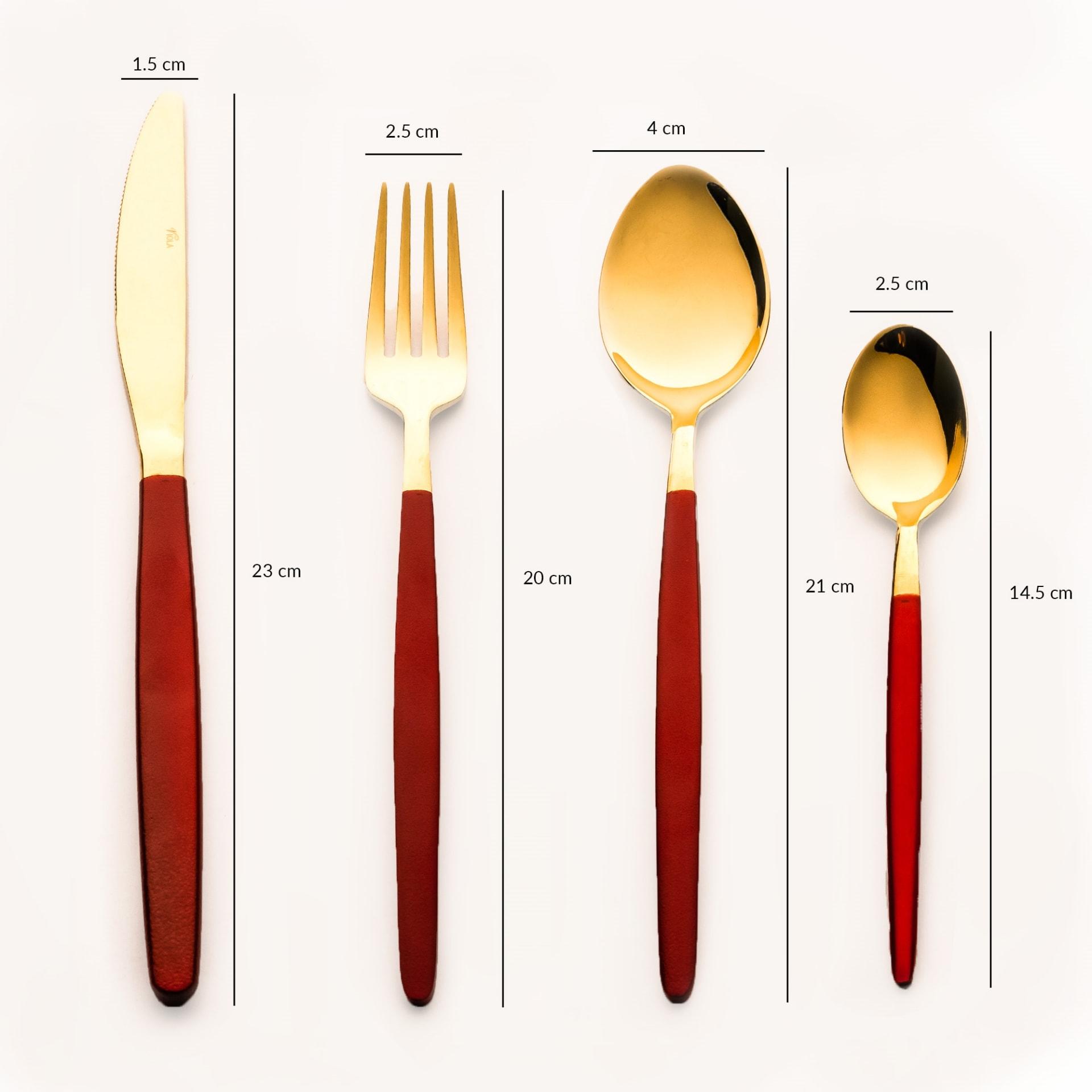 Viola Bonafide Red & Gold Cutlery Set